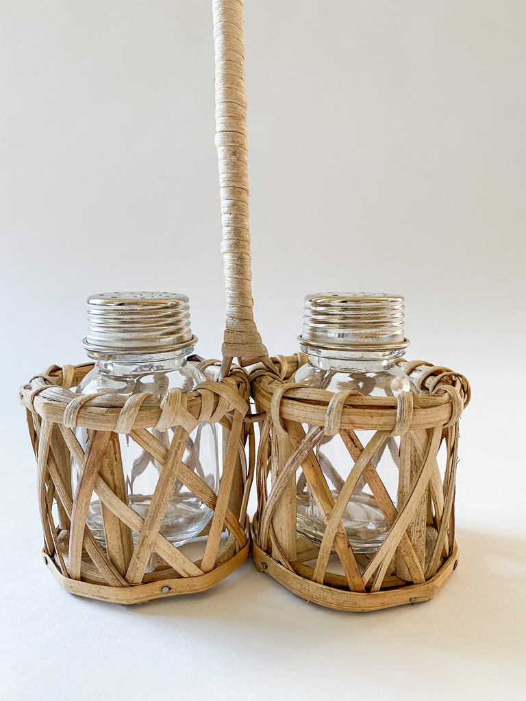 Rattan Salt & Pepper Caddy with Handle