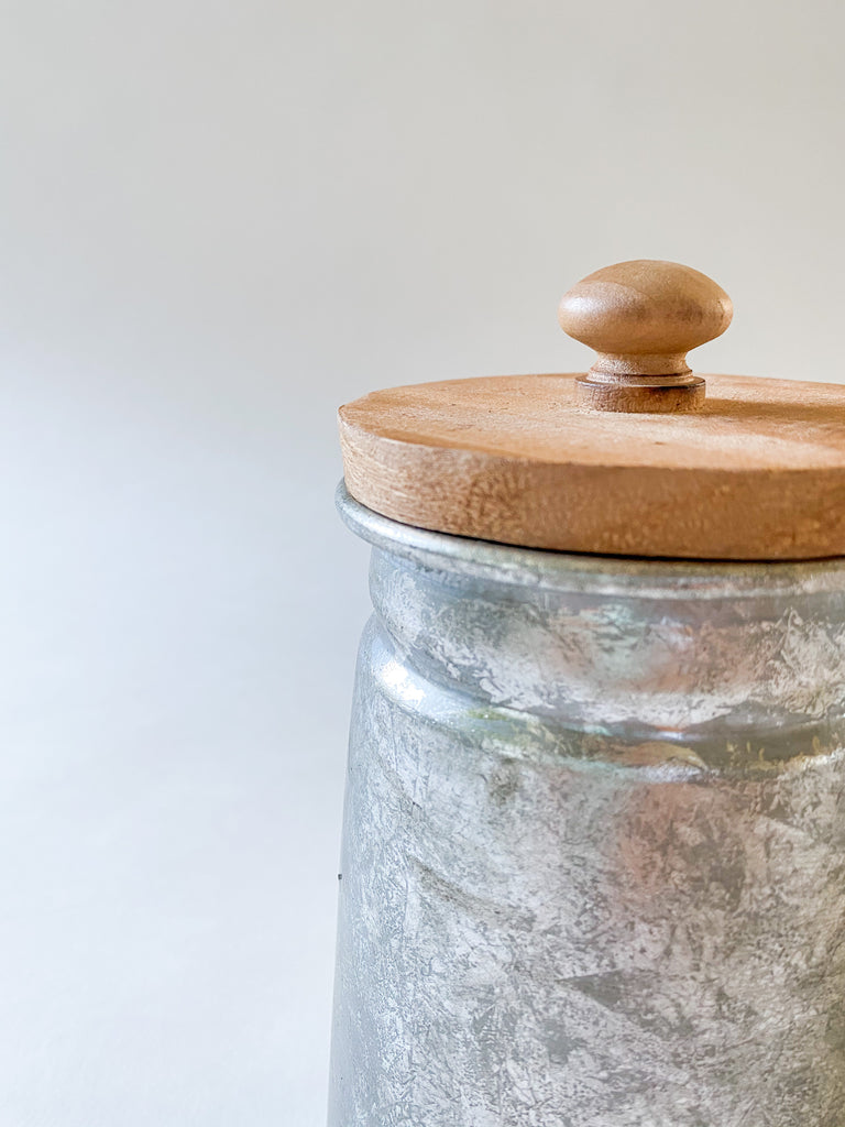 Tin Storage Container with Wood Lid