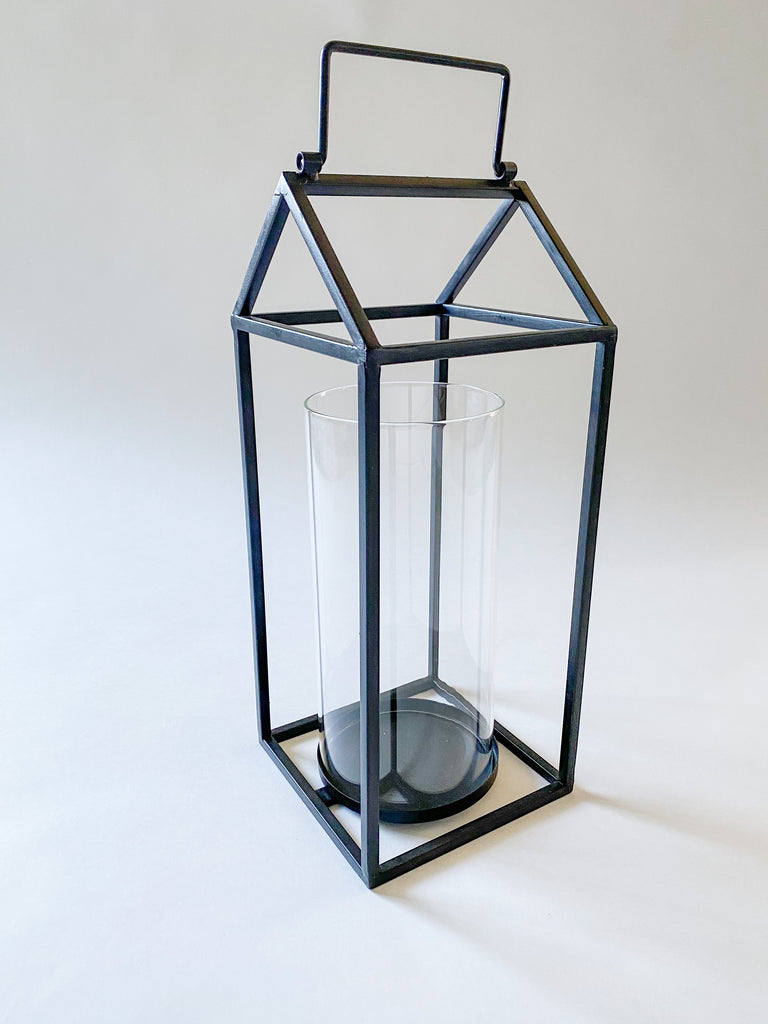 Matte Lantern with Glass Chimney