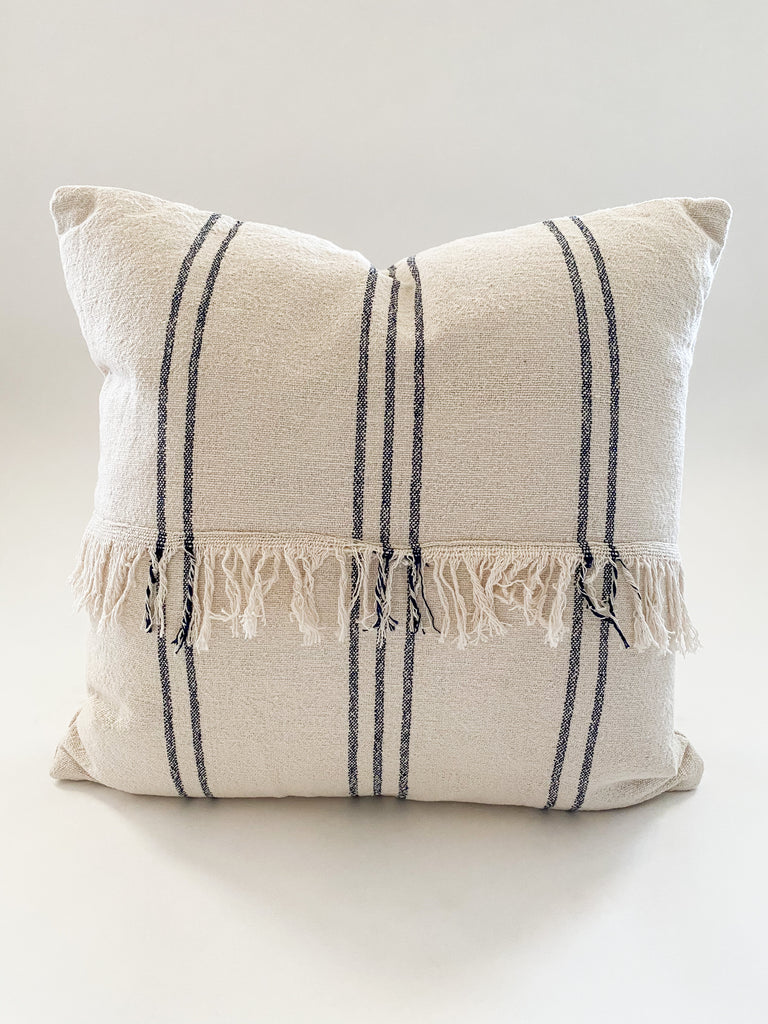 Mudcloth Pillow with Center Fringe