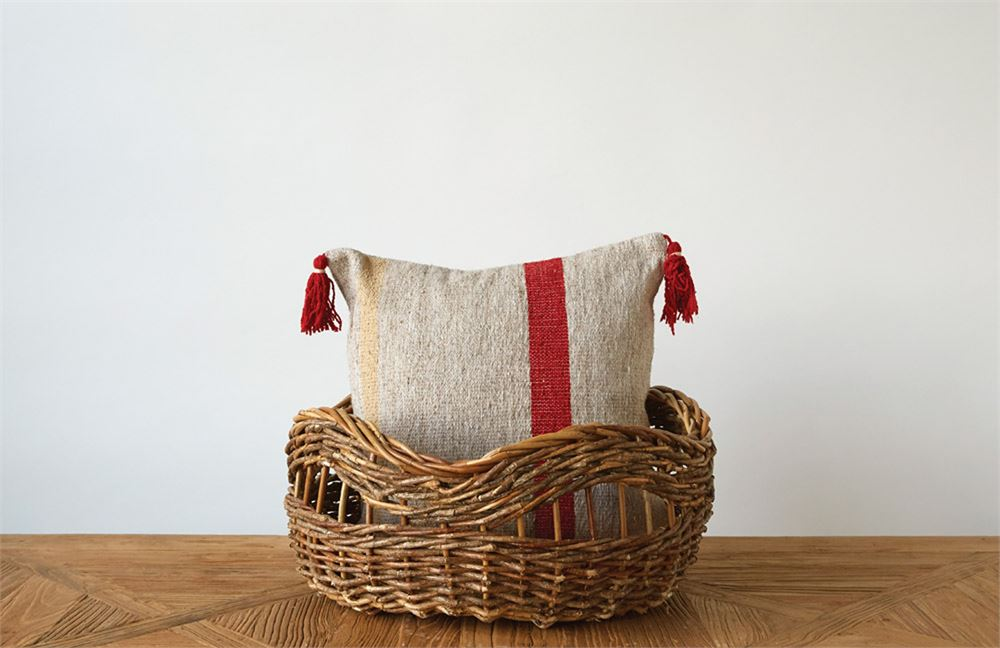 Viscose Kilim Pillow - Oatmeal & Red