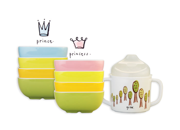Rae Dunn - Prince + Princess Snack Bowls and Sippy Cup