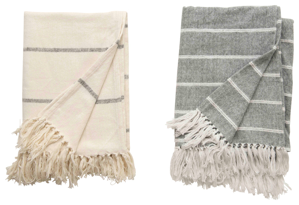 Isobel Striped Throw Blanket with Fringe