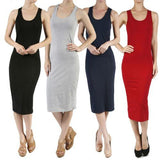 Active Solid Sleeveless Racerback Plus Size Stretch Bodycon Midi Dress AB6852