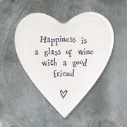 East Of India Happiness Is a Glass of Wine Ceramic Heart Coaster