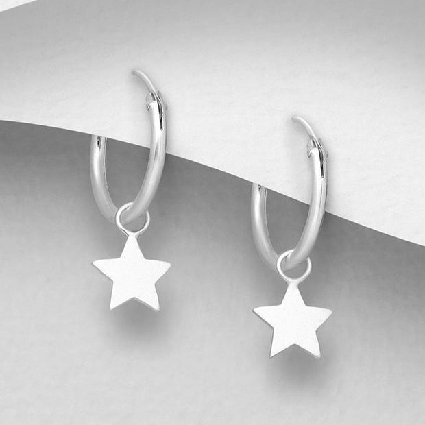 925 Silver Earrings |  Tiny Star Hoops