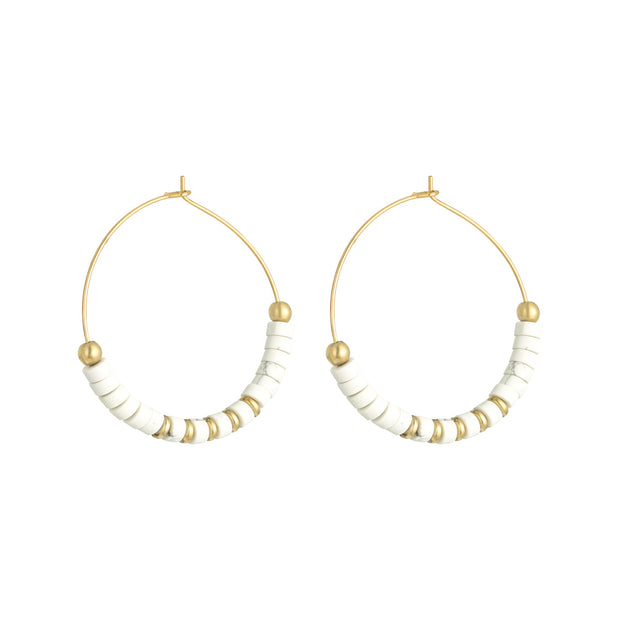 Beaded Hoops | Whites