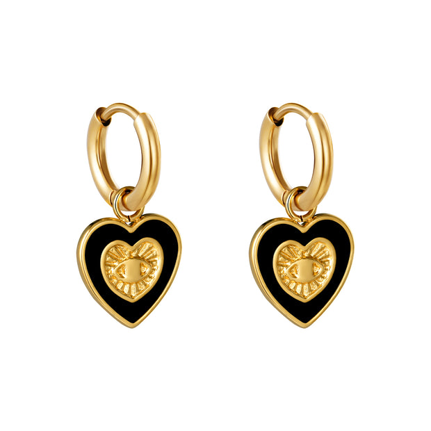 Hearted Eye Earrings | Black