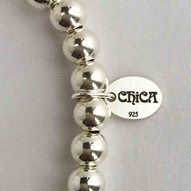 Chica 925 Sterling Silver 5mm Bead Stretch Stacking Bracelet with Tree of Life Charm