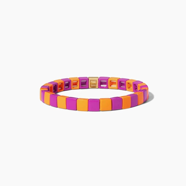 Squares Tile Bracelet | Orange and Bright Pink