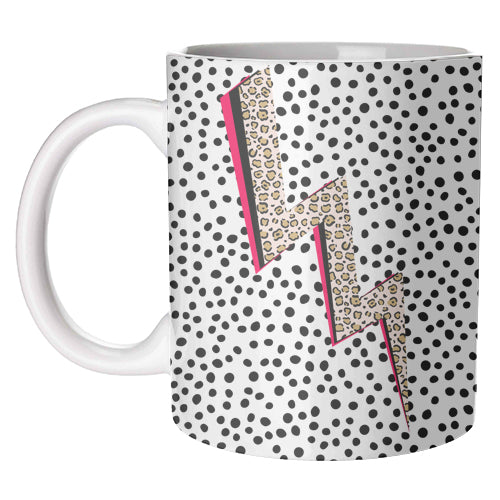Polka Dot Lightning Bolt Mug