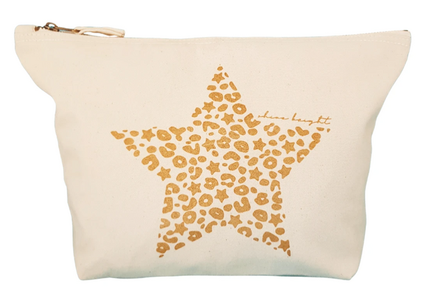 Bexter & Gini Stardust Leo Star Large Wash bag / Pouch | Cream  x Gold