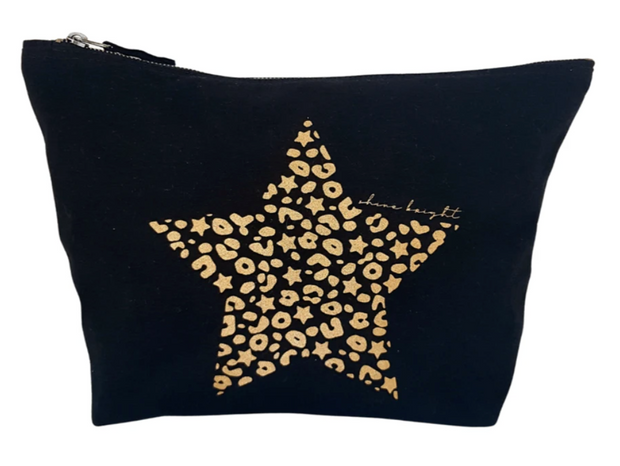 Bexter & Gini Stardust Leo Star Large Wash bag/Pouch | Black x Gold