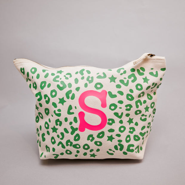 Bexter & Gini Personalised Wash Bag | Stardust Leo Neon Green