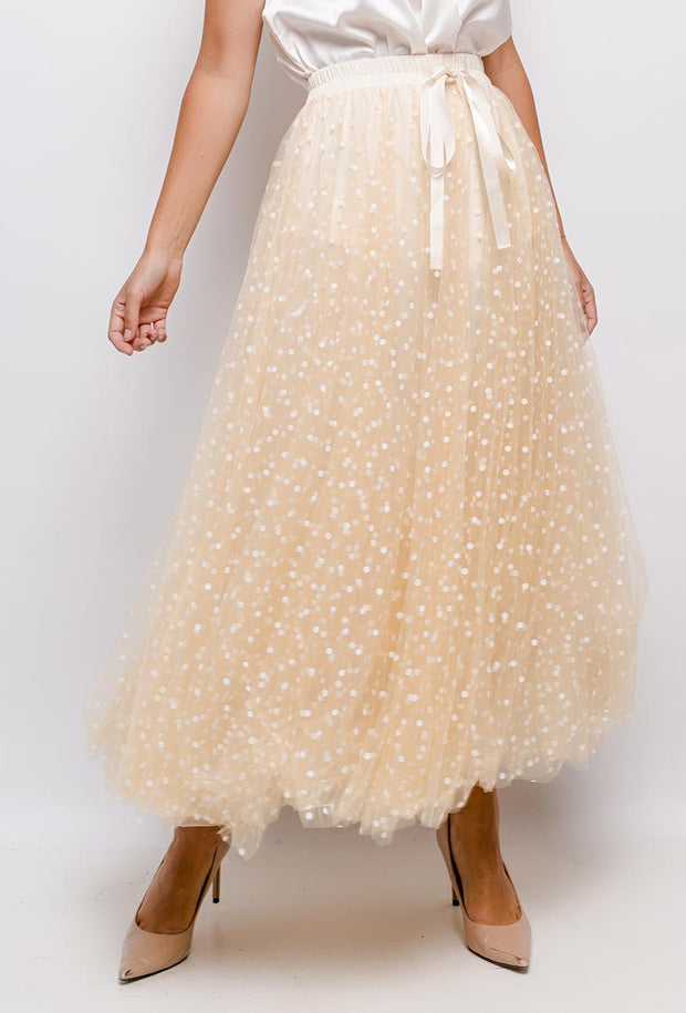 Polka Dot Maxi Tulle Skirt | White Dot
