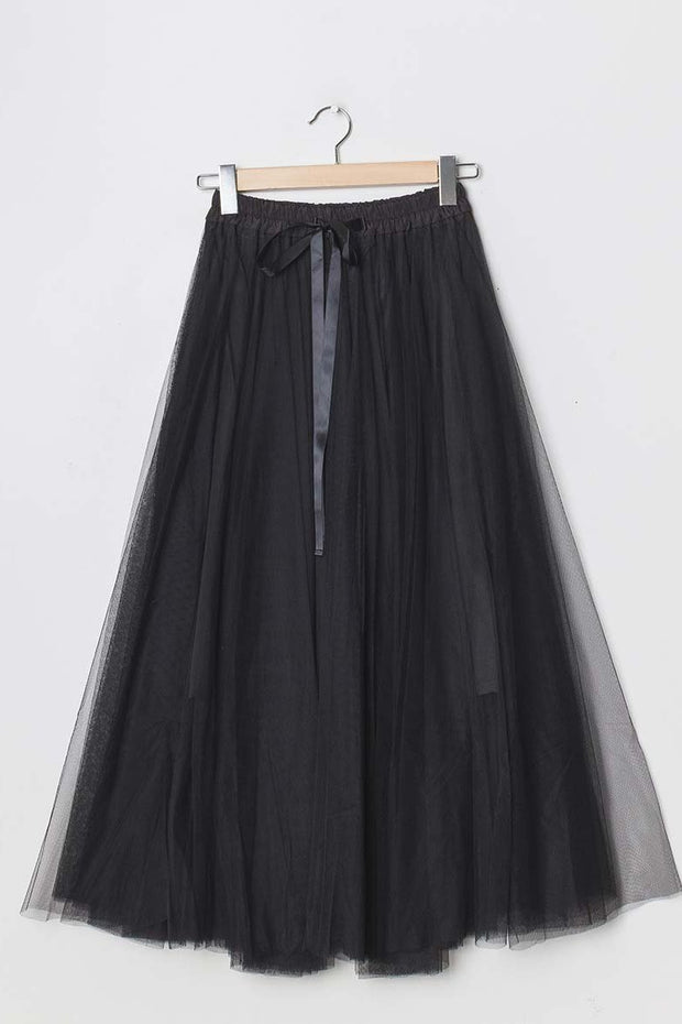 Grace Tulle Full Maxi Skirt  | Black