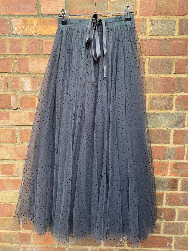 Polka Dot Maxi Tulle Skirt | Smokey Grey