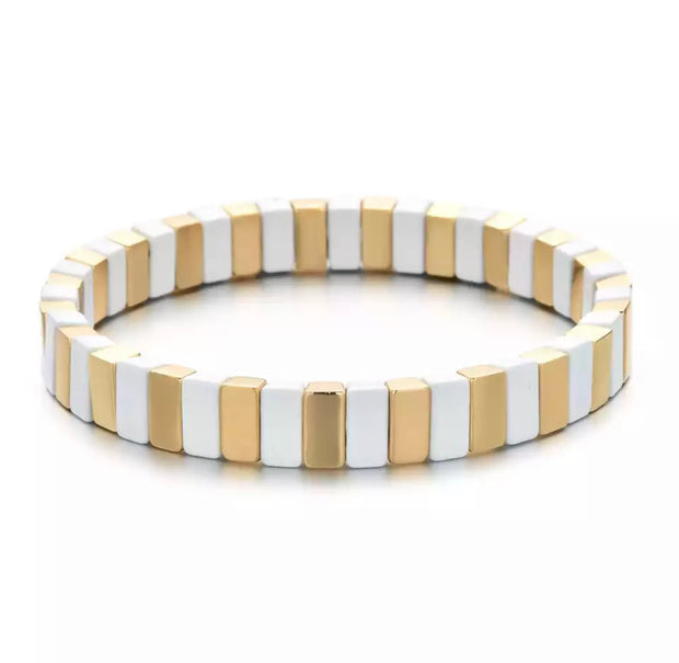 Tile Bracelet | White and Gold