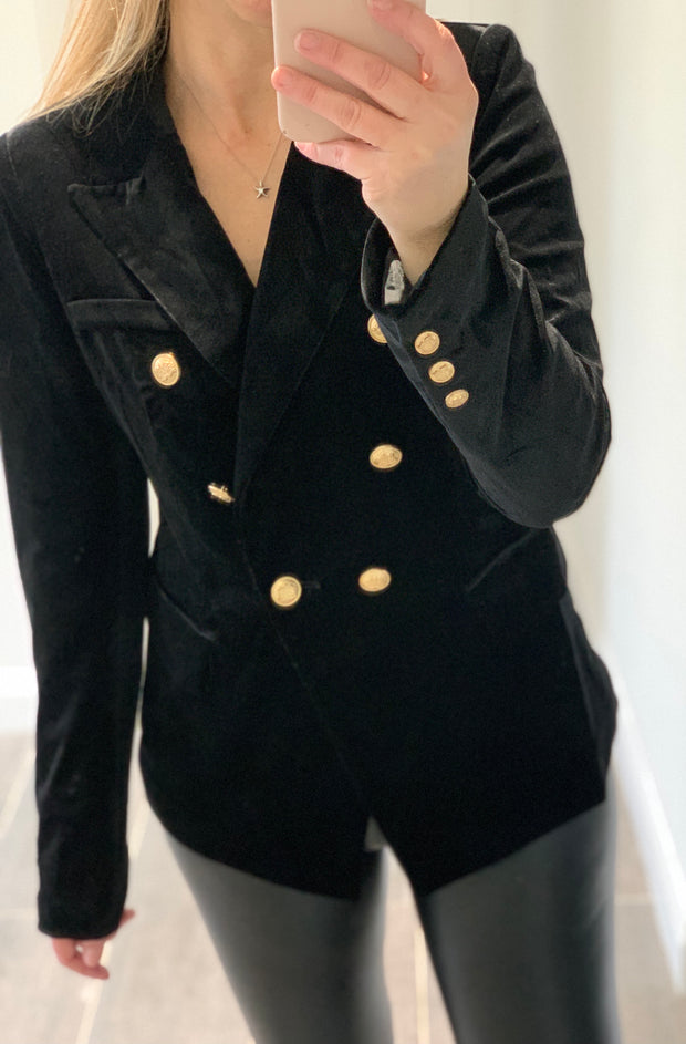 Velvet Double Breasted Blazer - Black