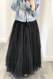 Polka Dot Maxi Tulle Skirt | Black with White Dots