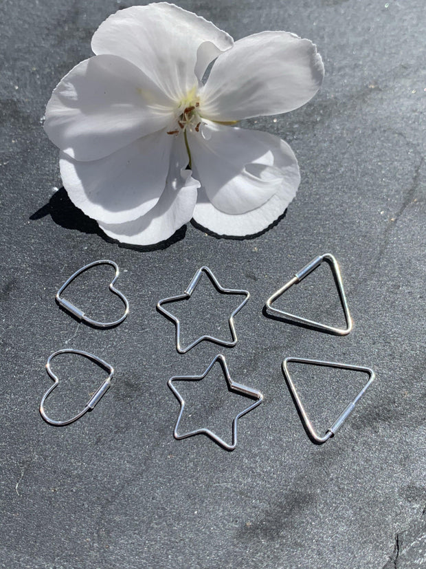 925 Silver Earrings |  Open Star Hoops