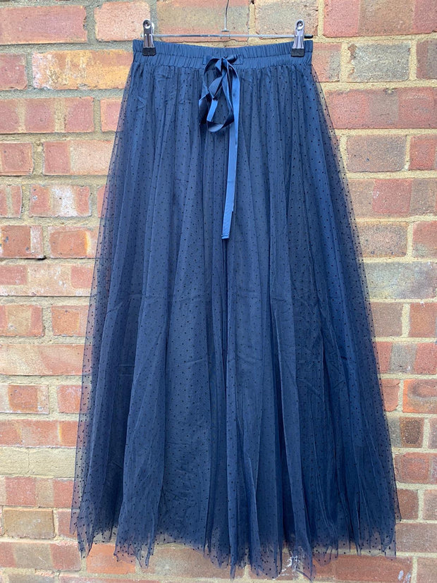 Polka Dot Maxi Tulle Skirt | Navy