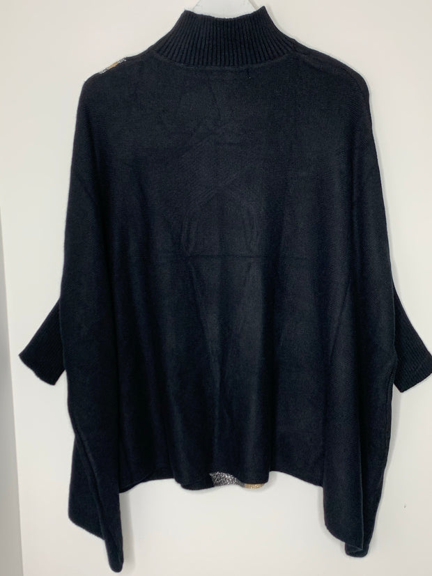 Gorgeous Batwing Oversized Jumper  - *Black with gold and silver lurex *
