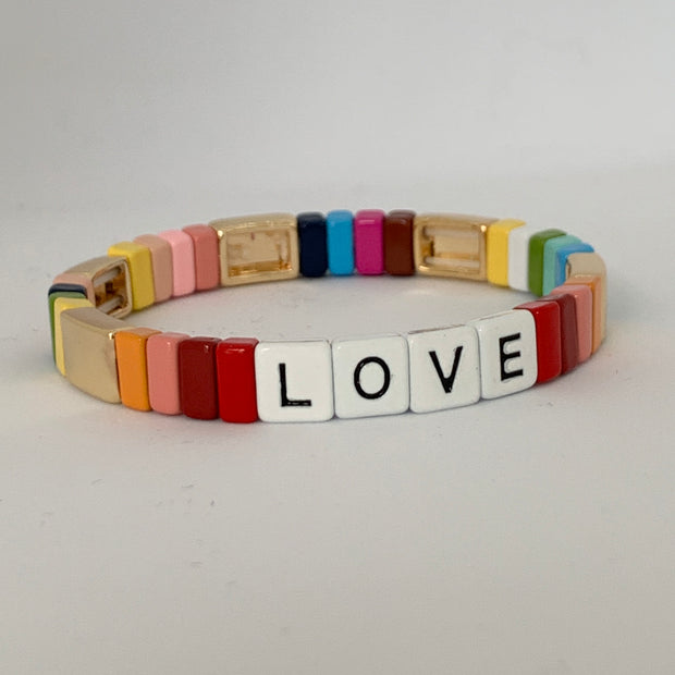 LOVE Tile Bracelet | Rainbow Love with Gold