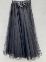 Polka Dot Maxi Tulle Skirt | Black