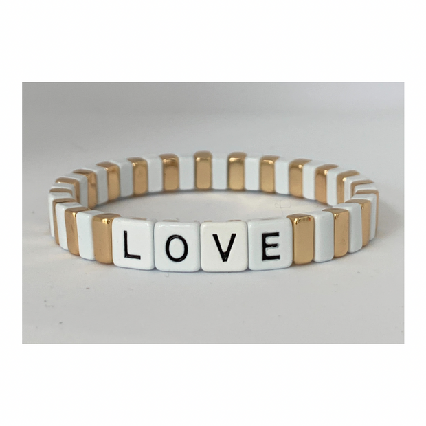 LOVE Tile Bracelet | White & Gold