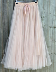Grace Tulle Full Maxi Skirt  | Rose Shadow