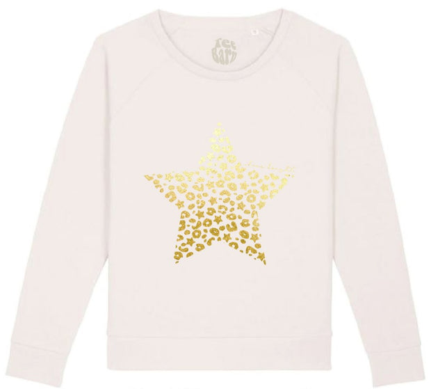 Bexter & Gini Stardust Leopard Sweatshirt | Vintage White with Gold