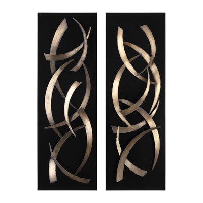 BRUSHSTROKES METAL WALL PANELS  SET OF 2