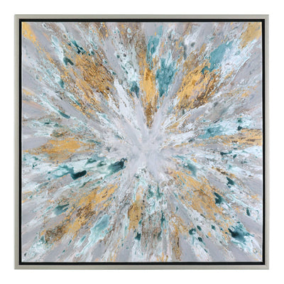 EXPLODING STAR HAND PAINTED CANVAS FRAMED WALL ART