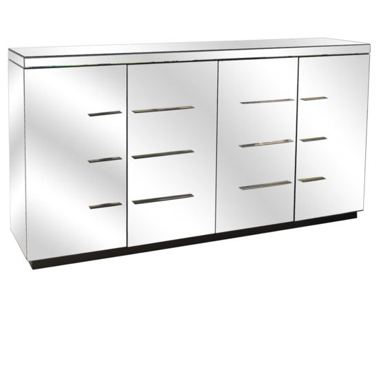 4 Door Beveled Mirror Sideboard and Chrome Hardware