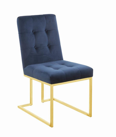 Modern Ink Blue and Gold Dining Chair - riteathomeatlanta