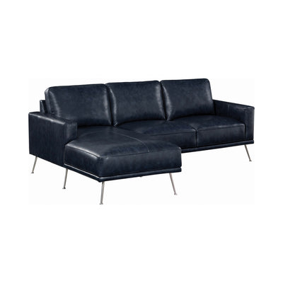 Uma Navy Leather Sectional