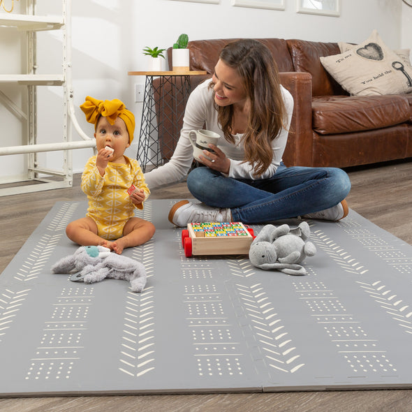 Grey Mudcloth Foam Baby Play Mat