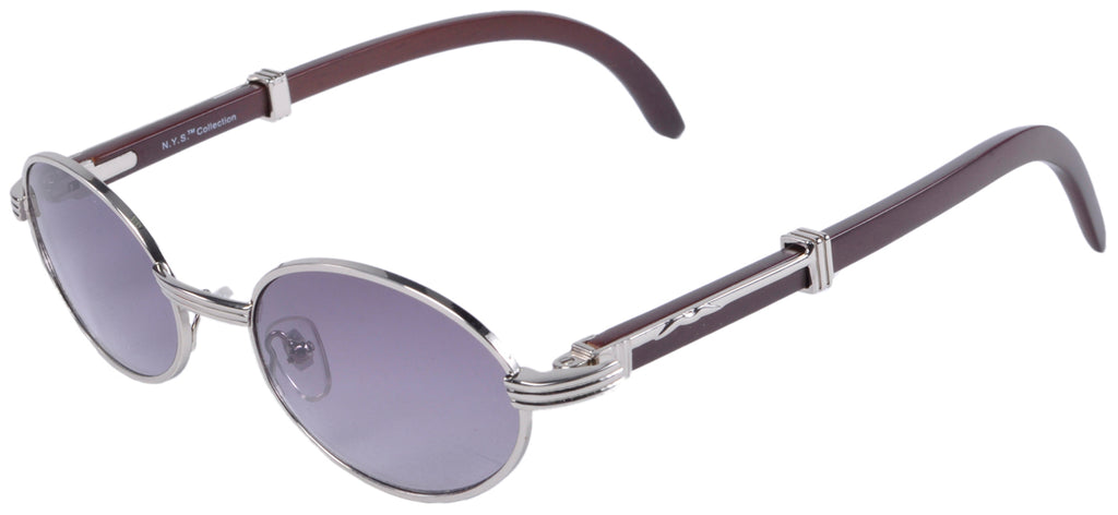 Silver Wooden Temple Sunglasses Oval Lens Handcrafted Eyewear