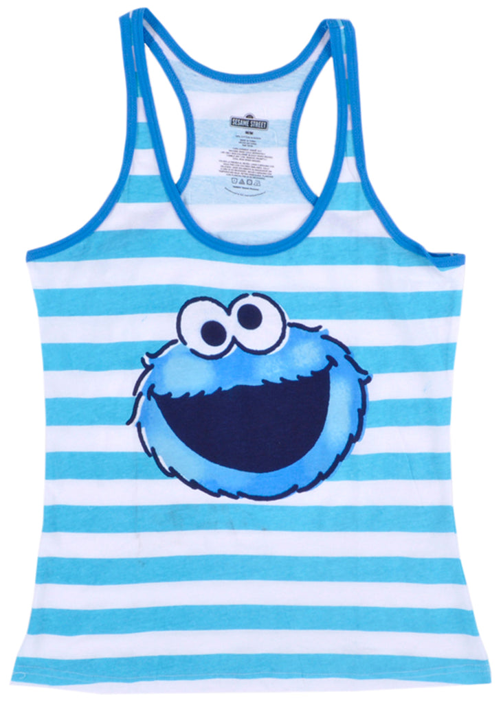 Cookie Monster Tank Top Womens Sesame Street Authentic Shirt White Sleeveless