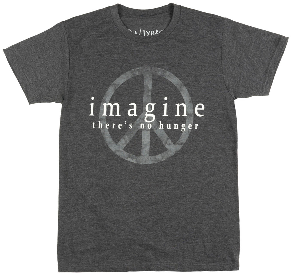 John Lennon No Hunger T-Shirt Peace Music Heather Charcoal