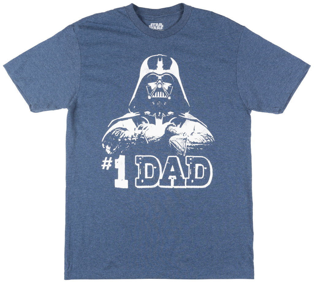 Star Wars Darth Vader Number 1 Dad T-Shirt Skywalker Jedi Mens Blue