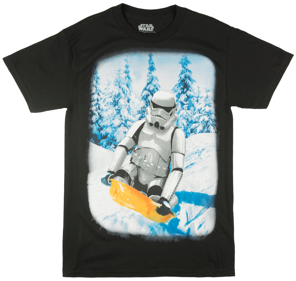 Star Wars Sledding Stormtrooper Athletic Fit T-Shirt Film Empire Tee Mens Black