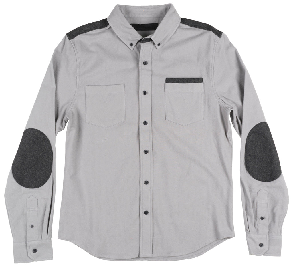 Black Scale Arcus Button Down Long Sleeve Shirt Pockets Streetwear Tee Top Grey