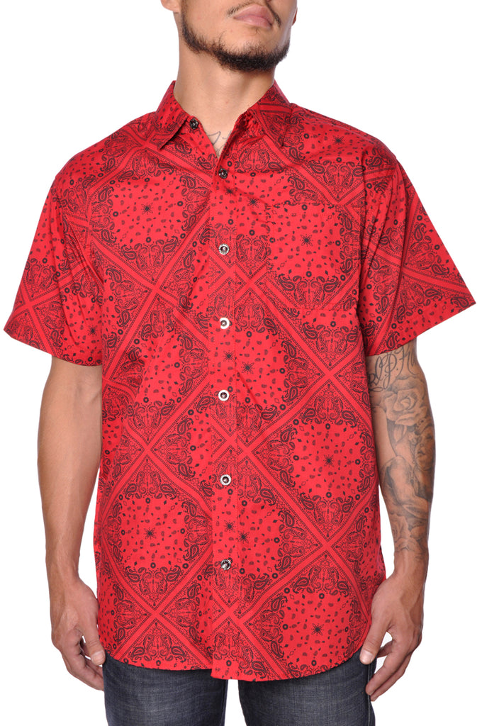 Red Bandana Button-Up Shirt Short Sleeve Mens Straight Fit Cotton Top