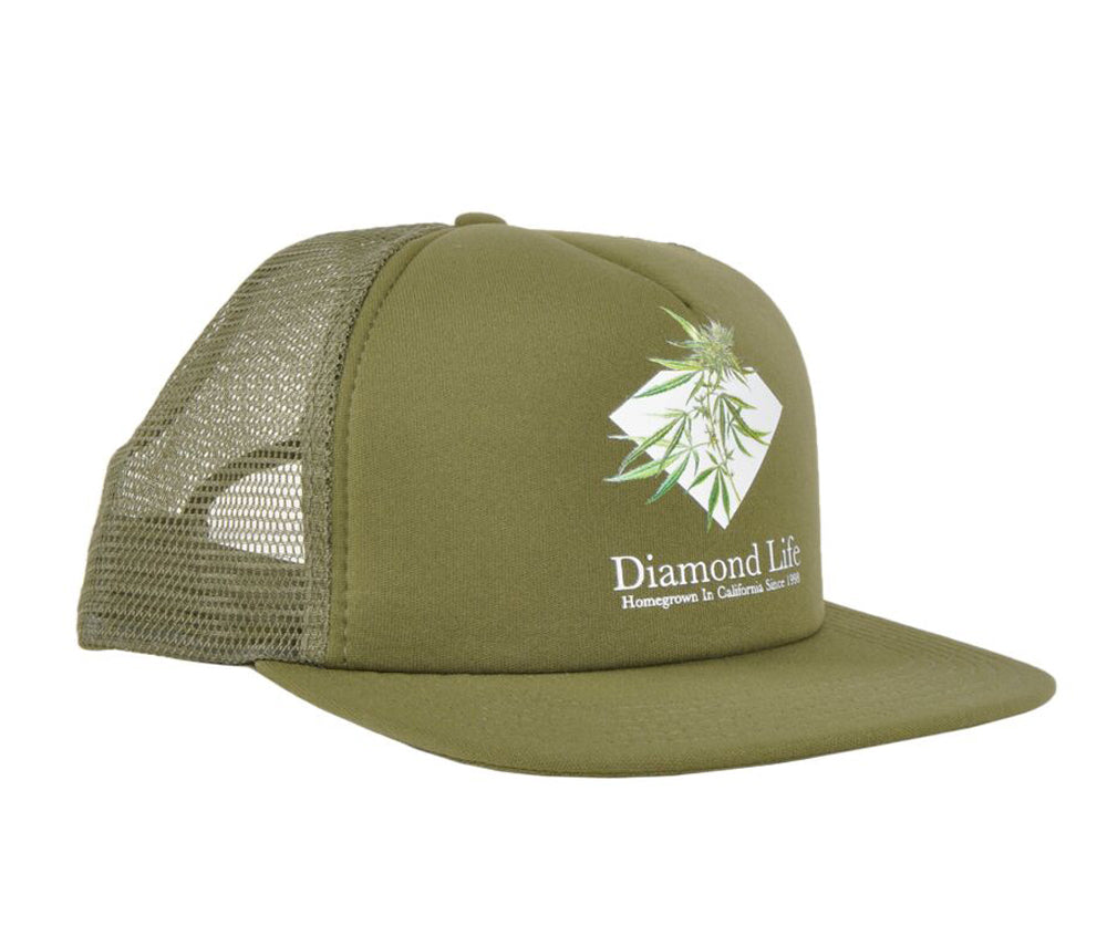 Diamond Supply Co. Diamond Life Homegrown Trucker Hat Olive Adjustable Headwear