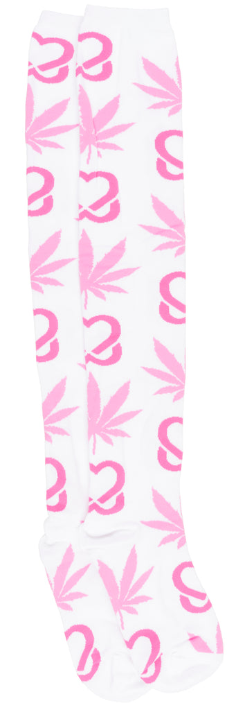 HUF Breast Cancer Plantlife Thigh High Socks Weed Leafs White Pink Womens