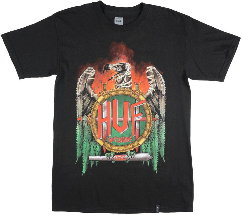 HUF x Ty Dolla $ign 420 Vulture T-Shirt Weed Smoke Skate Black