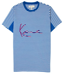 KARL KANI TRAP RUGBY T-SHIRT OCEAN STRIPE EMBROIDERED TEE MENS 90s FASHION