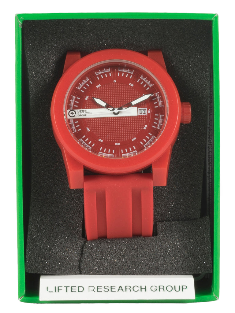 LRG Form Rubber Striped Watch Timepiece Wristwatch Fashion Accessory Mens Red